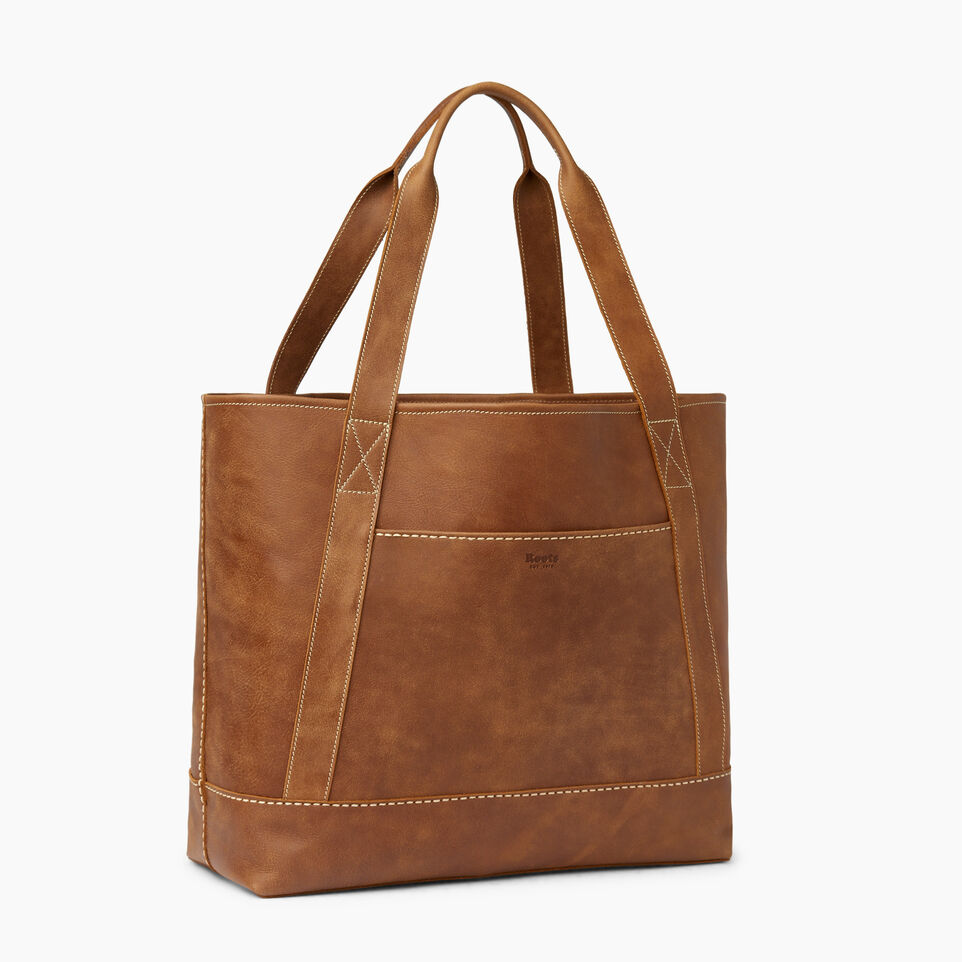 Roots-Leather  Handcrafted By Us Handbags-Muskoka Tote-Natural-A