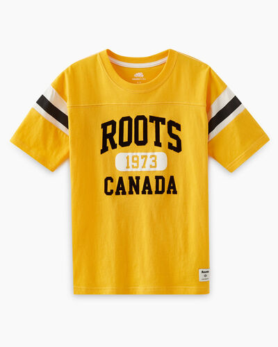 Roots-Kids T-shirts-Boys Home Team T-shirt-Saffron-A