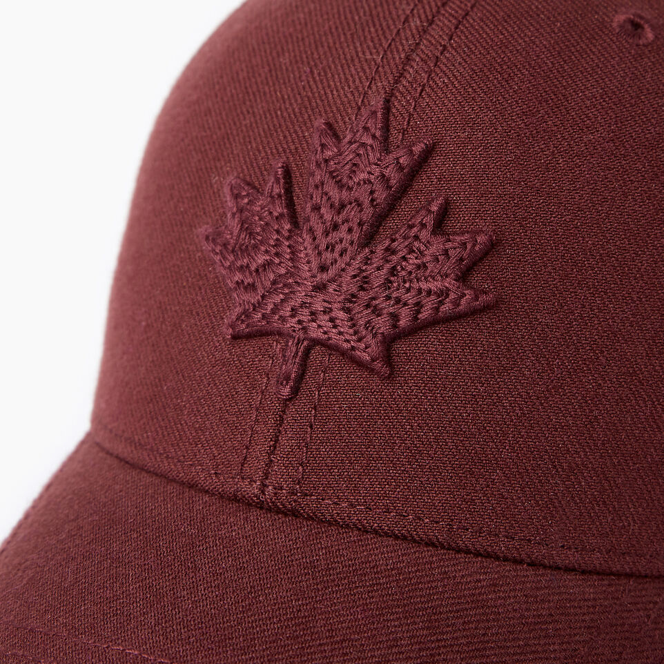 Roots-Men Our Favourite New Arrivals-Modern Leaf Baseball Cap-Crimson-D