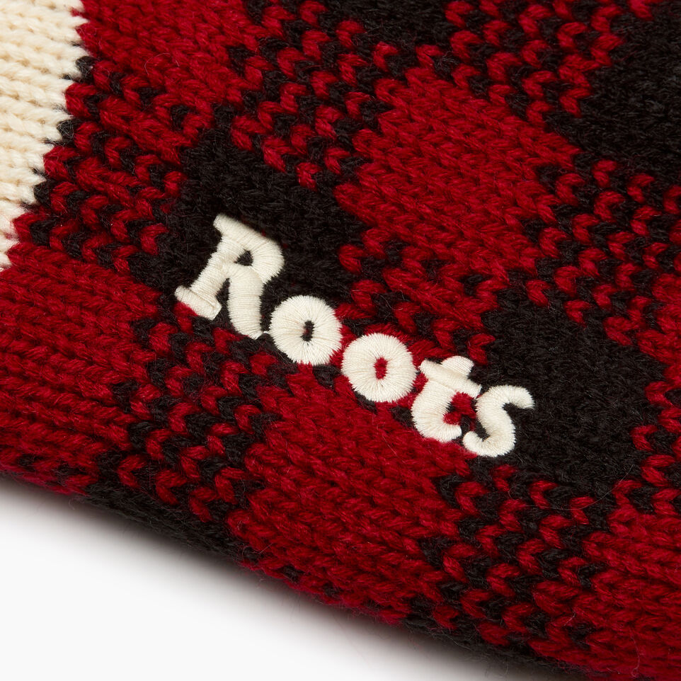 Roots-Women General Store-Park Plaid Stocking-Cabin Red-C