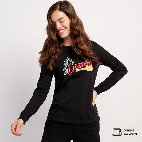 Roots-Women Graphic T-shirts-Womens Outdoors Long Sleeve T-shirt-Black-A