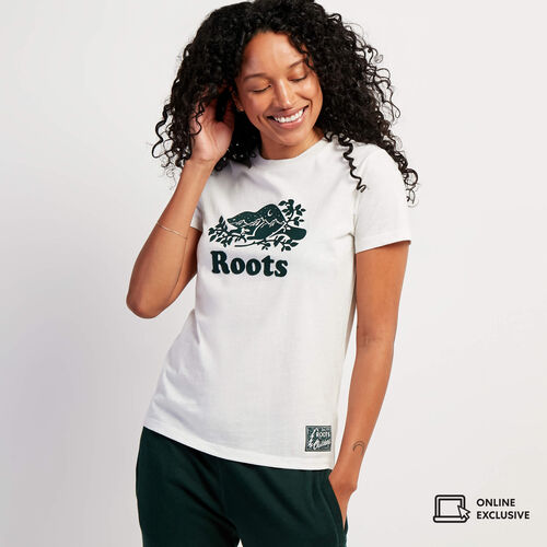 Roots-Women Graphic T-shirts-Womens Northlands Cooper T-shirt-Birch White Mix-A