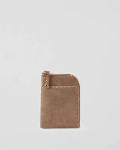 Roots-Leather Tech & Travel-Passport Phone Pouch Tribe-Sand-A