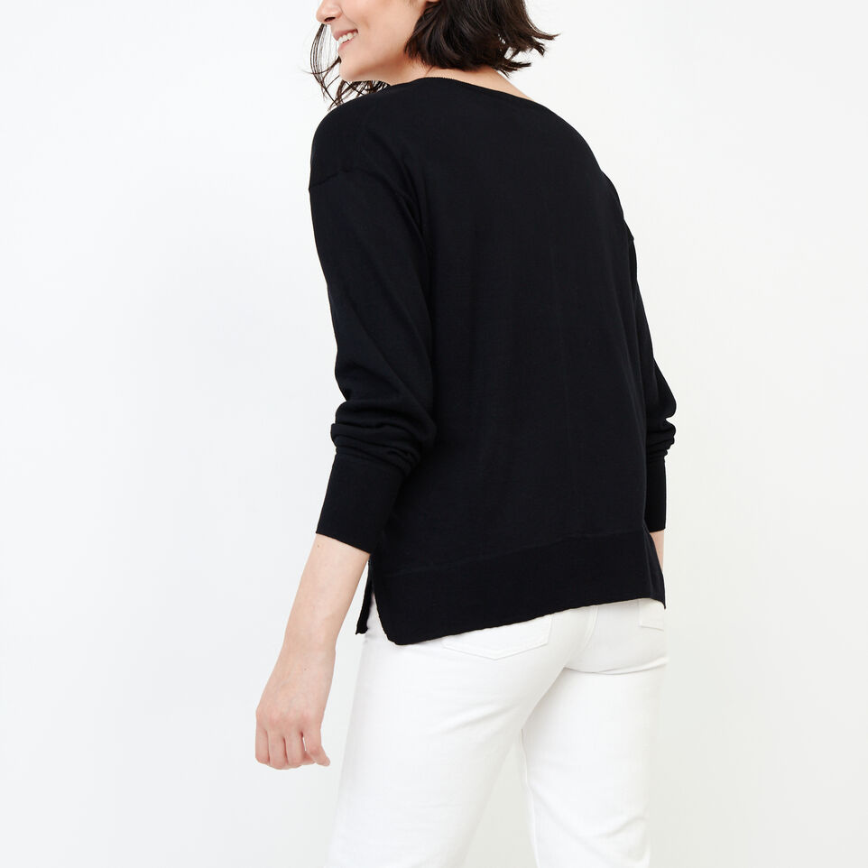 Roots-Women Our Favourite New Arrivals-Fauna V Neck Sweater-Black-D