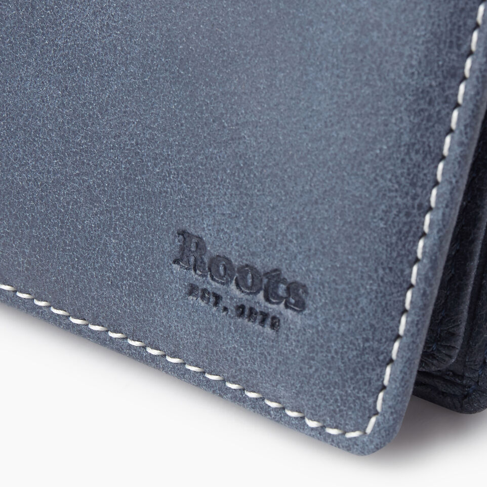 Roots-Leather Collections-Card Case With Id Tribe-Navy-D