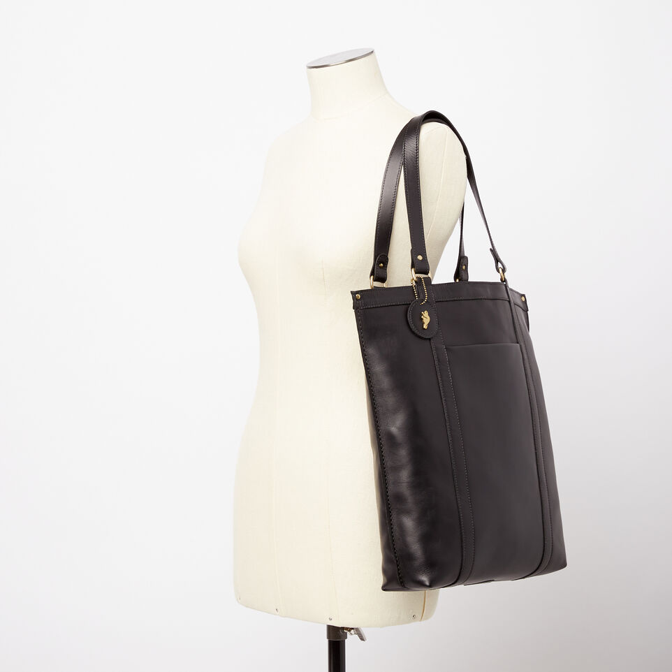Roots-Winter Sale Leather-Market Tote Heritage-Black-B