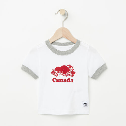 Roots-Kids Baby-Baby Cooper Canada Ringer T-shirt-White-A