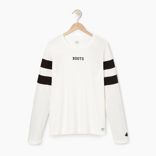 Roots-Men Our Favourite New Arrivals-Mens 2.0 Roots Long Sleeve T-shirt-Ivory-A