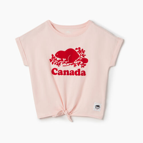 Roots-Kids New Arrivals-Girls Canada Tie T-shirt-English Rose-A