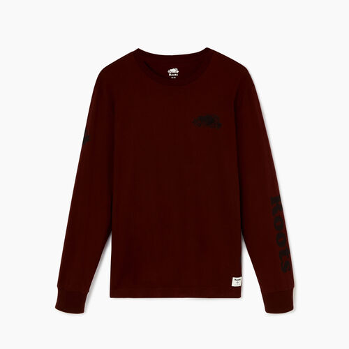 Roots-Men Tops-Mens Cooper Remix Long Sleeve  T-shirt-Crimson-A
