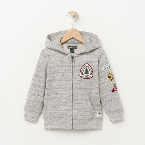 Roots-Kids Sweats-Toddler Patches Hoody-Grey Mix-A