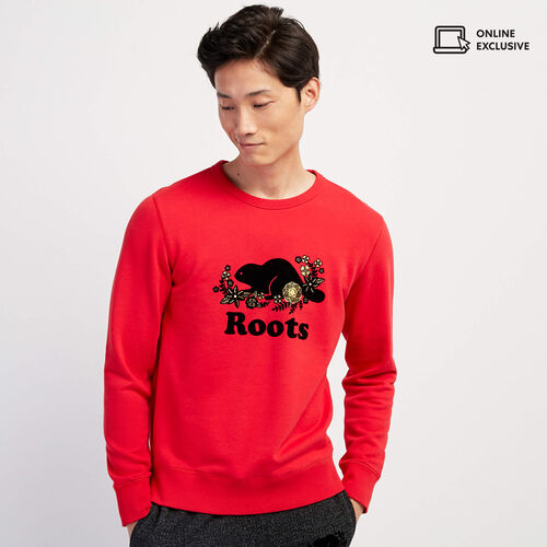 Roots-Sweats Men-Lunar New Year Slim Crew Sweatshirt-Racing Red-A