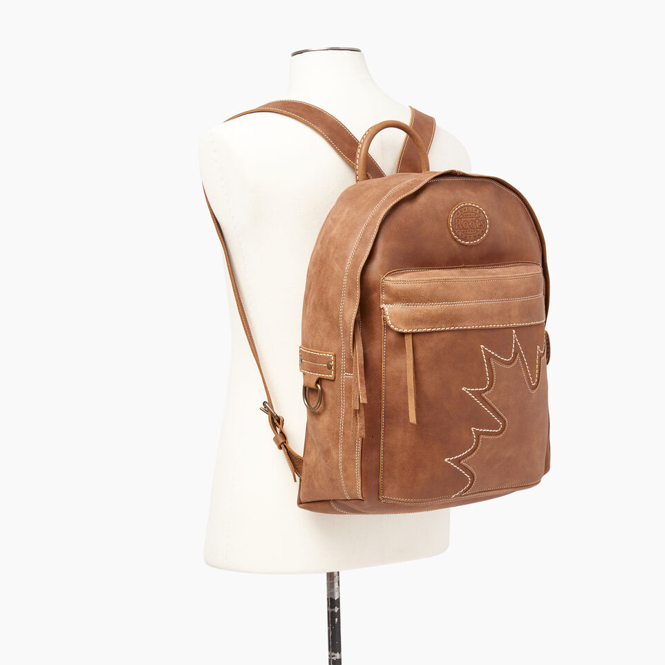 Roots-Leather Backpacks-Trans Canada Student Pack-Natural-B