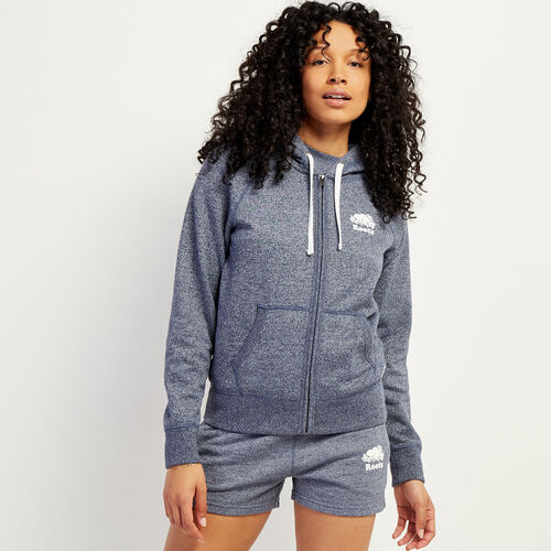 Roots-Sweats Women-Original Full Zip Hoody-Navy Blazer Pepper-A
