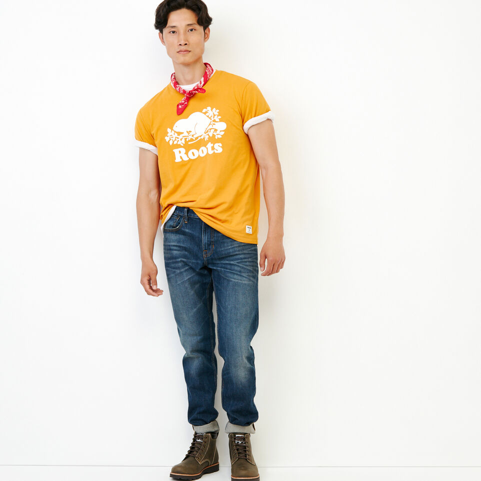 Roots-Men Our Favourite New Arrivals-Mens Cooper Beaver T-shirt-Squash Yellow-B