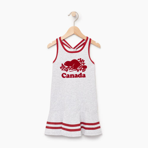 Roots-Kids Canada Collection-Toddler Canada Tank Dress-Snowy Ice Mix-A