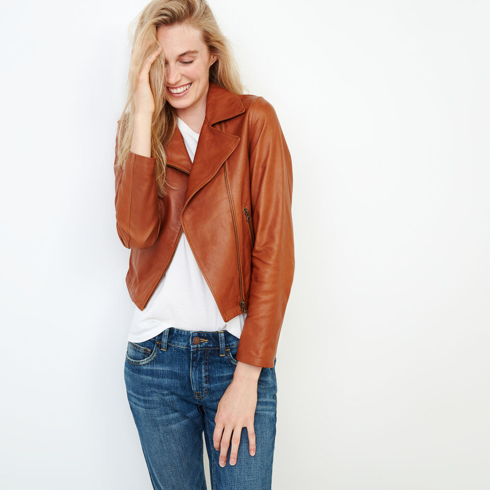 Roots-Leather Leather Jackets-Shay Jacket Vegetal-Tan-A
