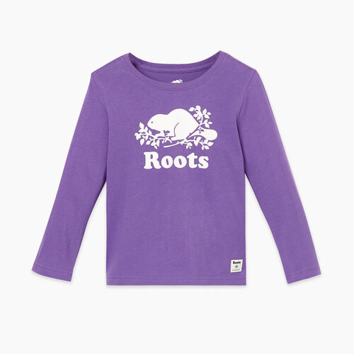 Roots-Kids Tops-Toddler Original Cooper Beaver T-shirt-Deep Lavender-A