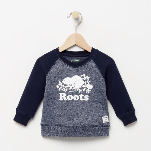 Roots-Clearance Kids-Baby Original Crewneck Sweatshirt-Navy Blazer Pepper-A