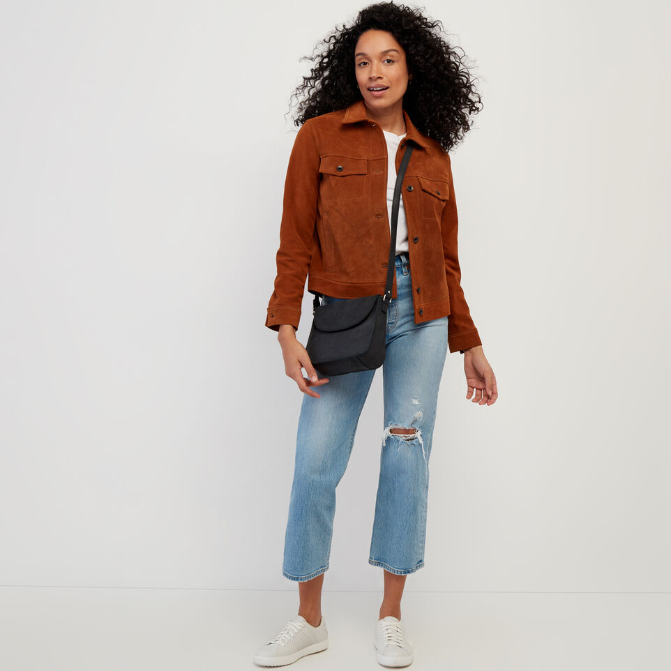 Roots-Leather Leather Jackets-Womens Trucker Jacket Suede-Tan-B