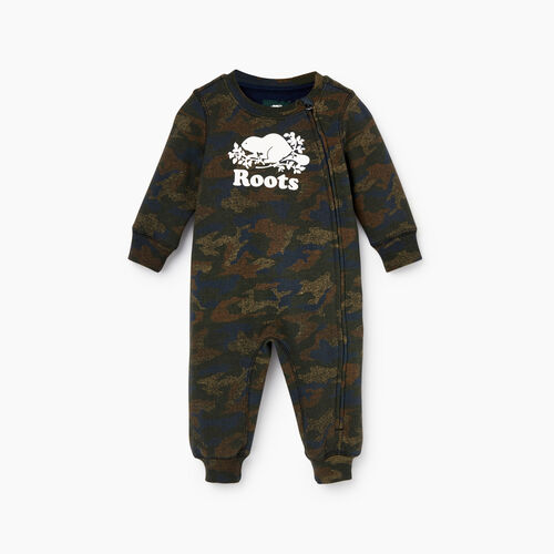 Roots-Kids Our Favourite New Arrivals-Baby Cooper Beaver Romper-Camo Print-A