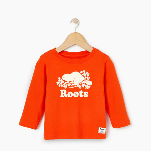 Roots-Kids Our Favourite New Arrivals-Baby Original Cooper Beaver T-shirt-Spicy Orange-A