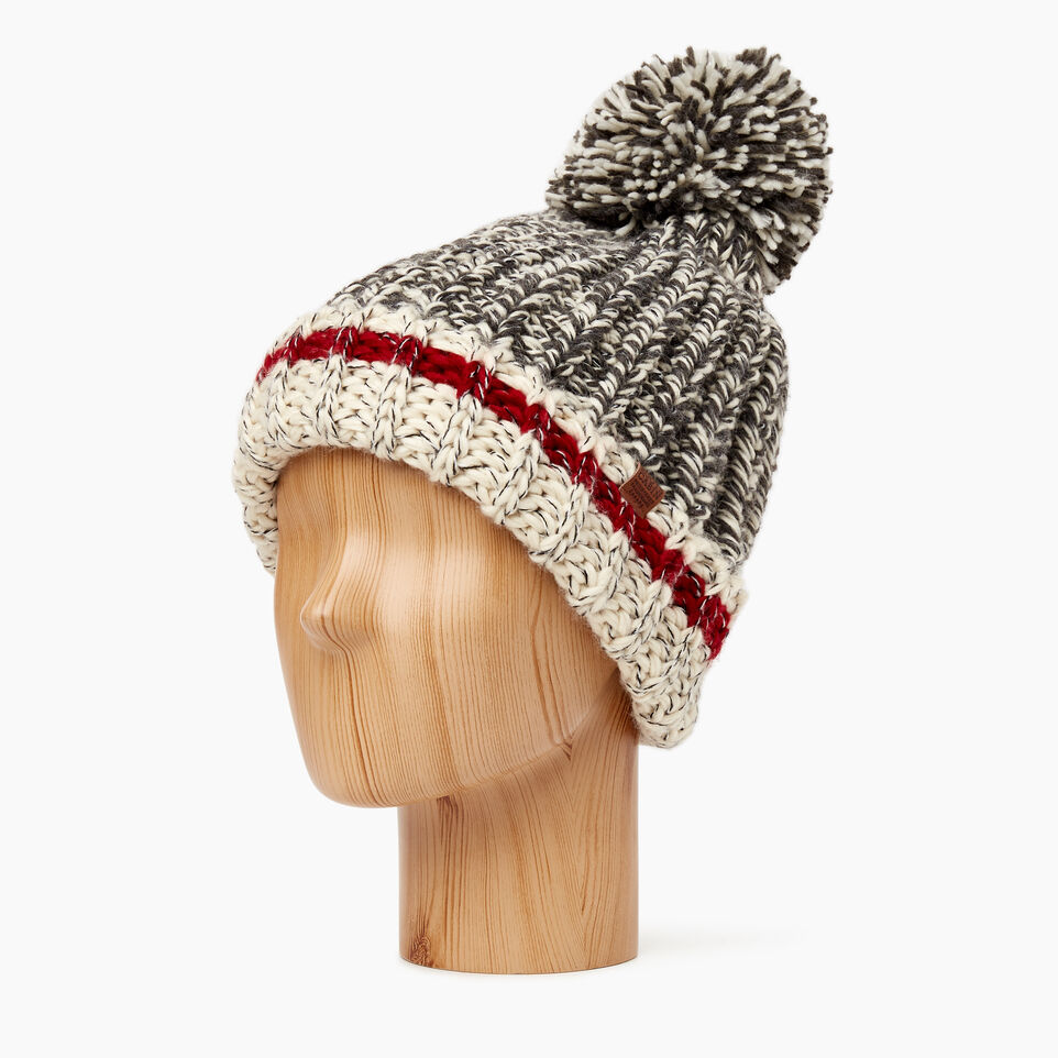 Roots-Women Hats-Chunky Cabin Pom Pom Toque-Grey Oat Mix-C