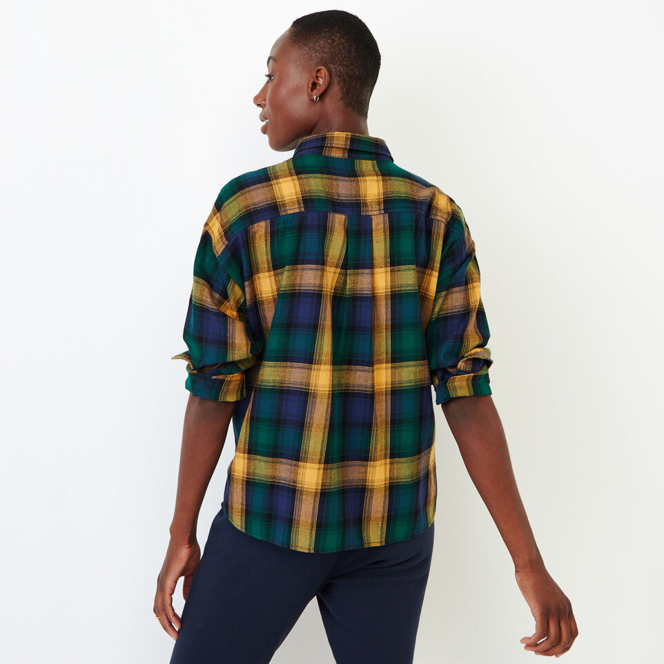 Roots-Women Categories-Box Cut Flannel Shirt-Varsity Green-D