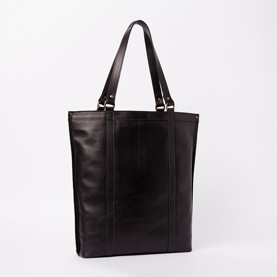 Roots-Winter Sale Leather-Market Tote Heritage-Black-C
