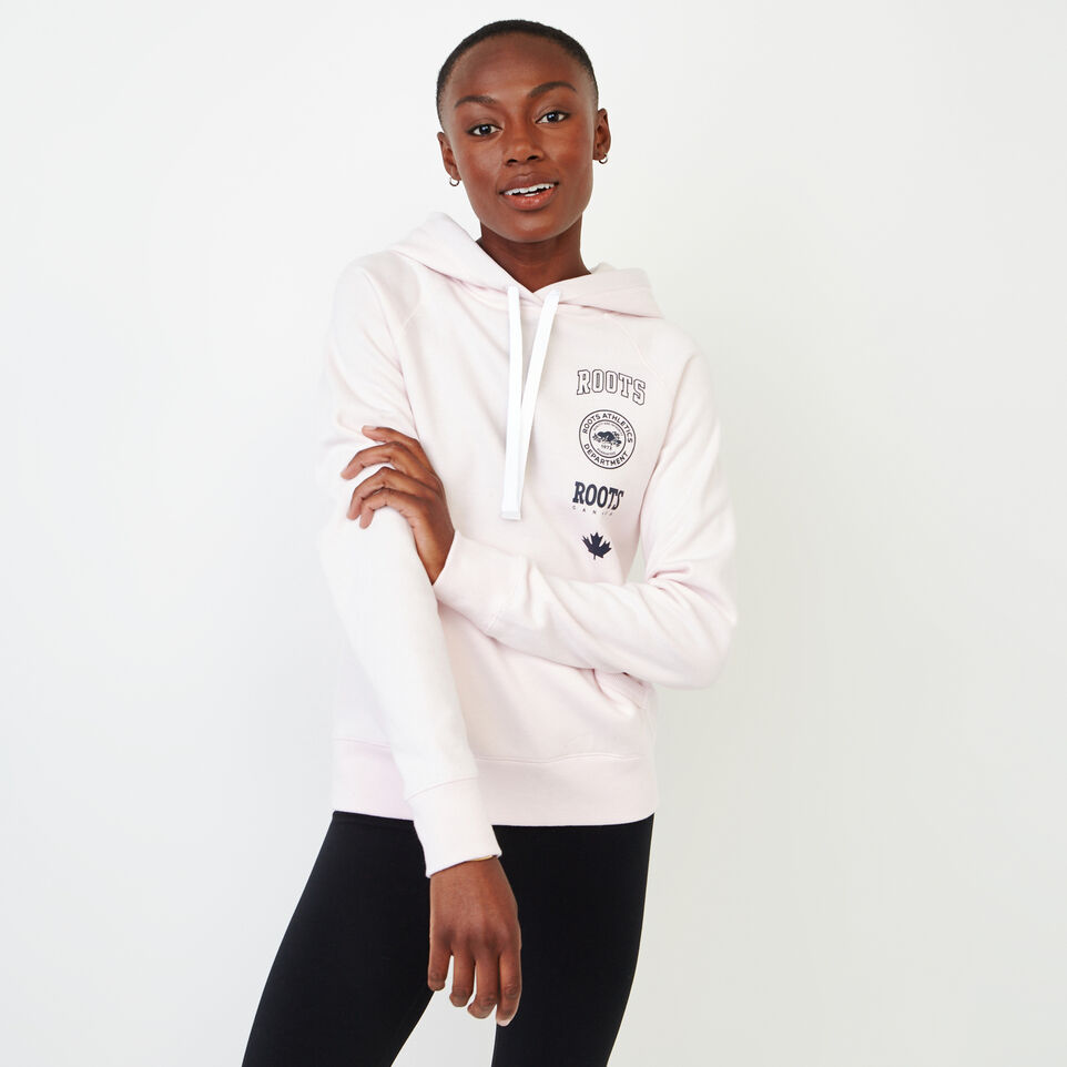 Roots-Women New Arrivals-Stamps Kanga Hoody-Cradle Pink-A