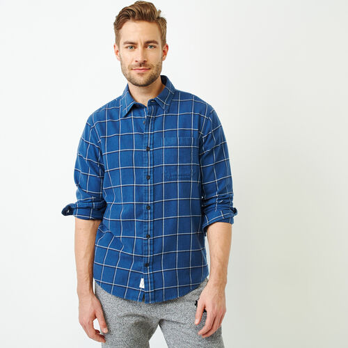 Roots-Men Our Favourite New Arrivals-Lightweight Flannel Shirt-Blue-A