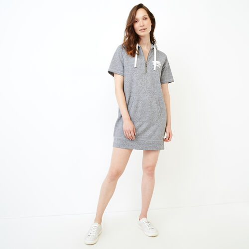 Roots-New For June Sweats-Dockside Hooded Dress-Salt & Pepper-A