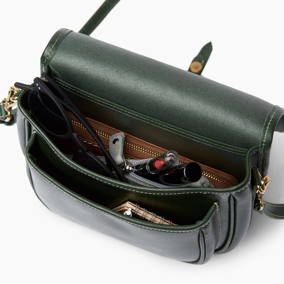 Roots-Leather  Handcrafted By Us Handbags-Medium English Saddle Heritage-Hunter Green-D