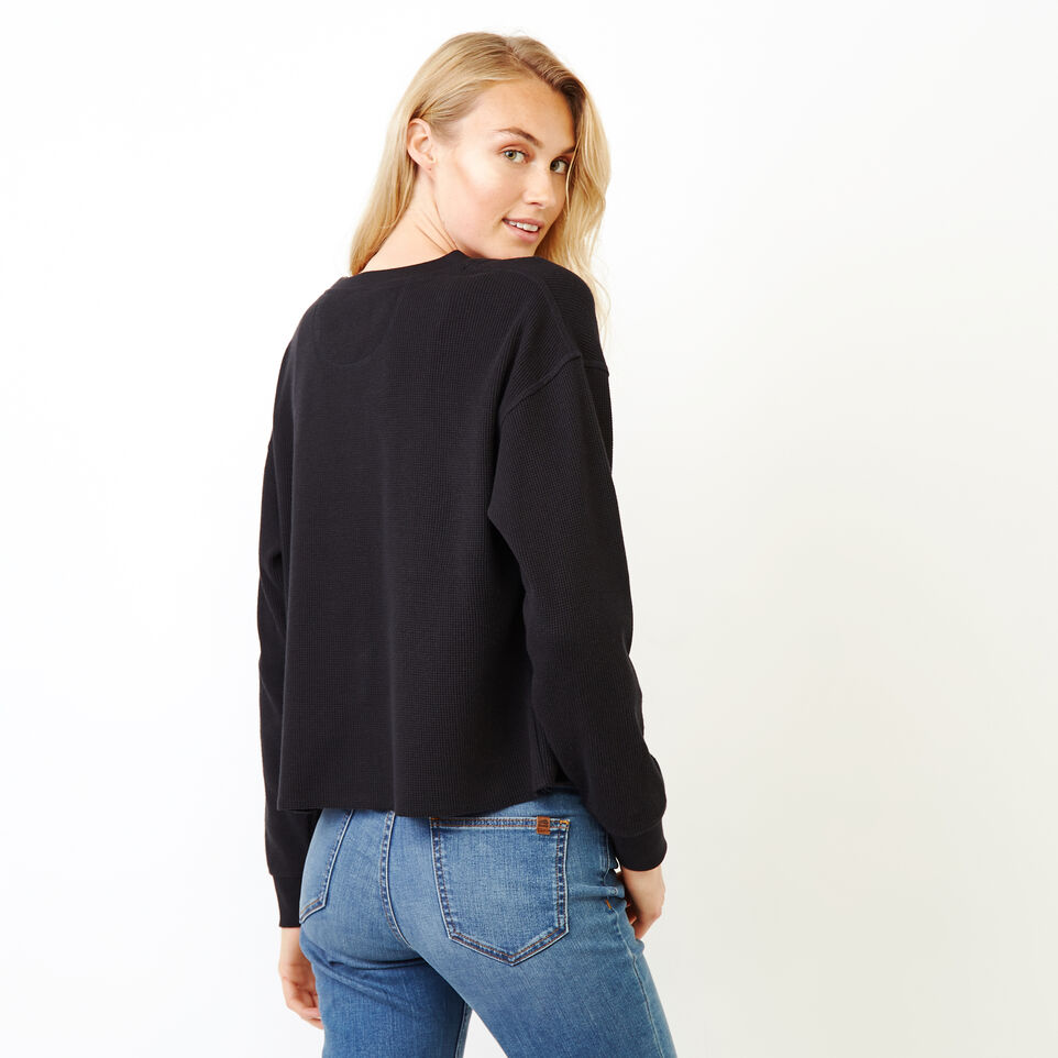 Roots-Women Categories-Kinuso Waffle Top-Black-D