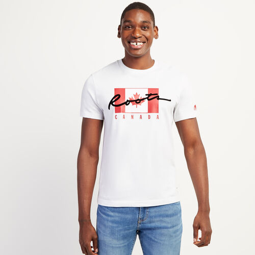 Roots-Sale Tops-Mens Script Canada T-shirt-Crisp White-A