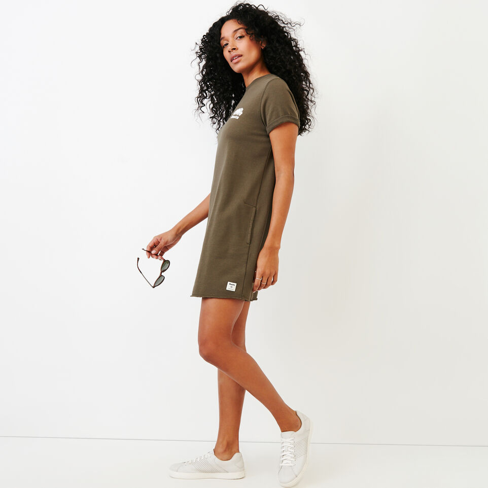 Roots-Women Clothing-Edith Cuffed Dress-Fatigue-C