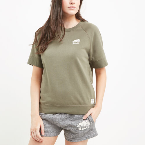 Roots-Clearance Women-Shortsleeve Cooper Crewneck Sweatshirt-Dusty Olive-A