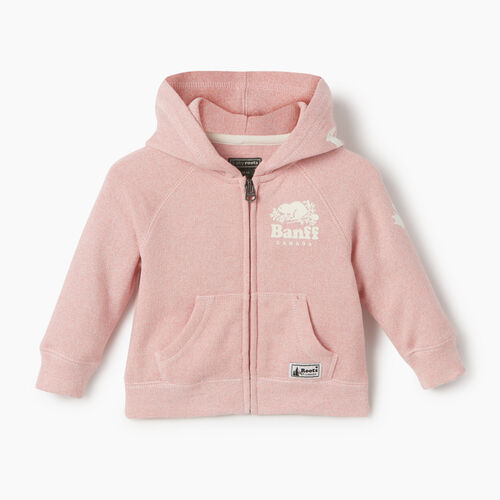 Roots-New For May City Collection-Baby Girl Banff Ski City Full Zip Hoody-Dusty Blush-A