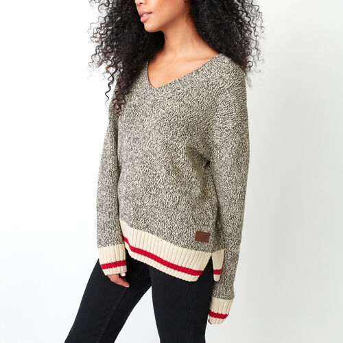 Roots-Women Sweaters & Cardigans-Roots Cotton Cabin V Neck Sweater-Grey Oat Mix-A