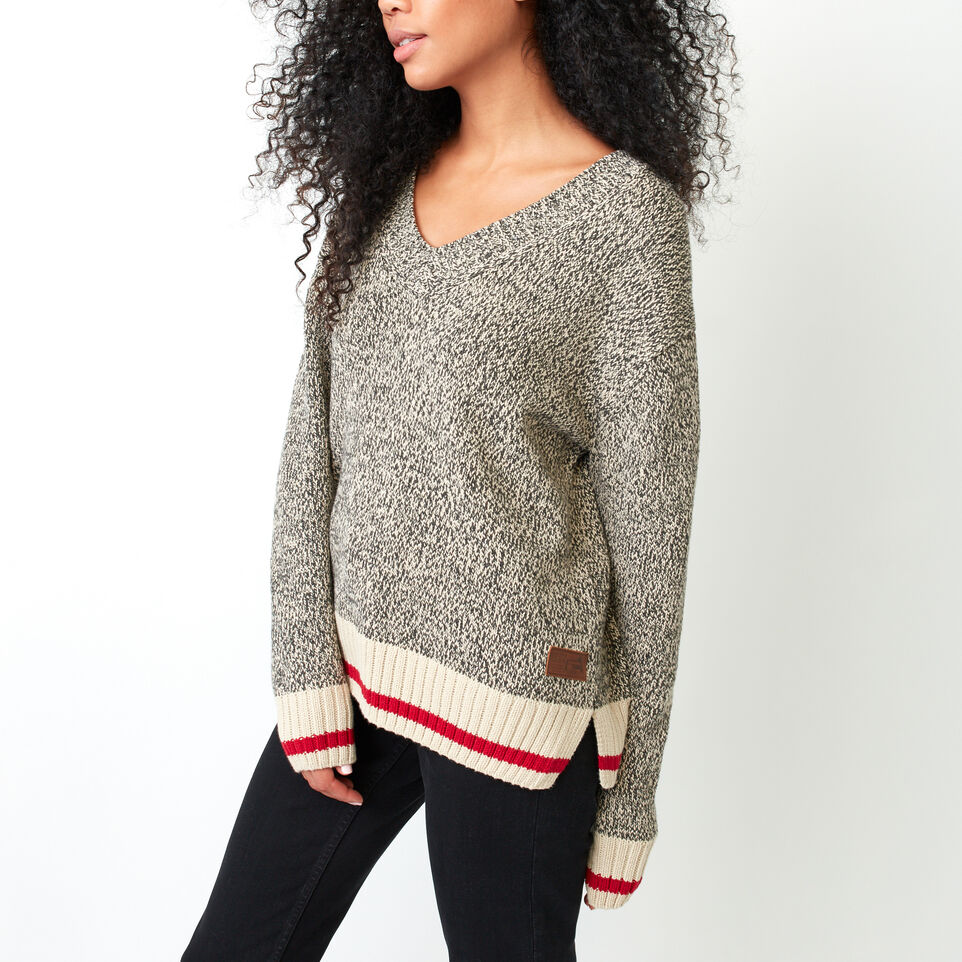 Roots-Cotton Cabin V Neck Sweater