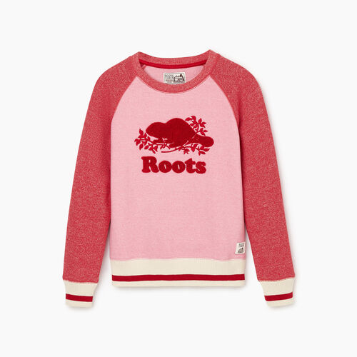 Roots-New For October Kids-Girls Roots Cabin Cozy Sweatshirt-Cashmere Rose Pepper-A