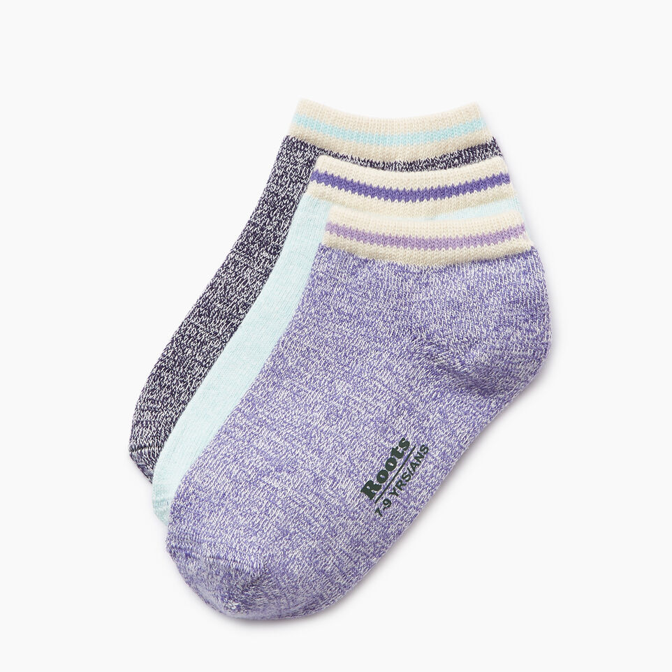 Roots-Clearance Kids-Kids Cabin Ped Sock 3 Pack-Violet Storm-A