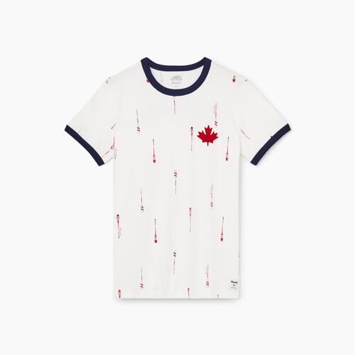 Roots-Women Graphic T-shirts-Womens Canada Paddles Ringer T-shirt-Ivory-A