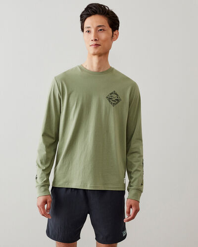 Roots-Men New Arrivals-Mens Explore Outdoors Long Sleeve T-shirt-Washed Olive-A