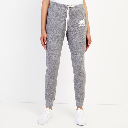 Roots-Women Slim Sweatpants-Slim Cuff Sweatpant - Short-Salt & Pepper-A