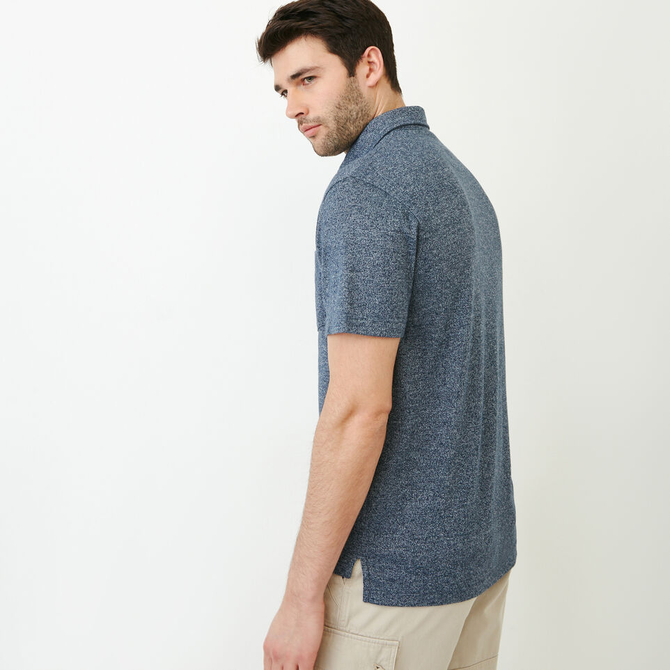 Roots-Men Our Favourite New Arrivals-Jersey Peppered Polo-Navy Blazer Pepper-C