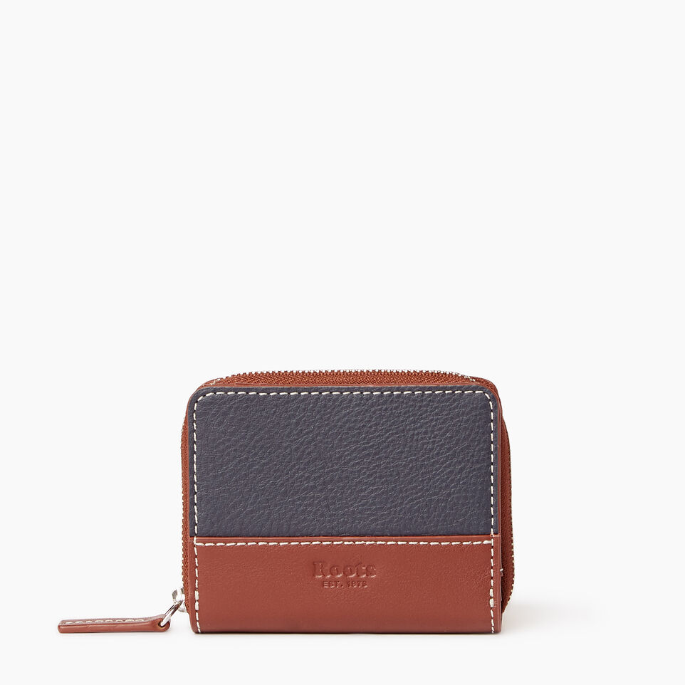 Roots-Leather Our Favourite New Arrivals-Small Zip Wallet-Ultramarine/oak-A