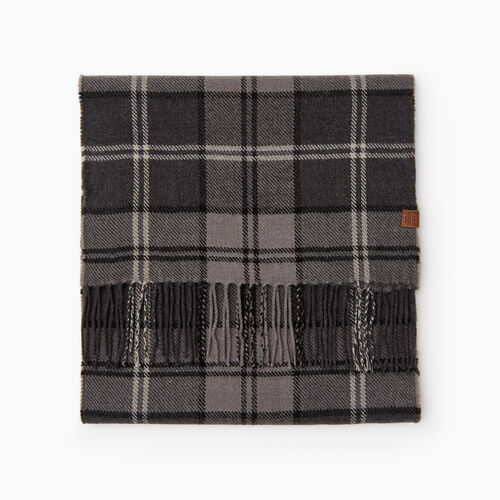 Roots-Men Categories-Smoke Lake Plaid Scarf-Charcoal Mix-A