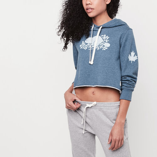 Roots-Women Sweatshirts & Hoodies-Busted Cooper Cropped Hoody-Force Blue Mix-A