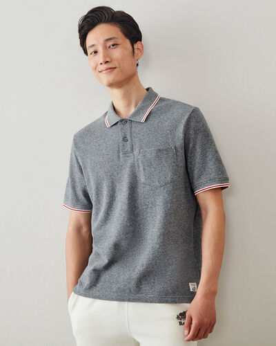 Roots-Men Shirts & Polos-Cabin Polo-Salt & Pepper-A